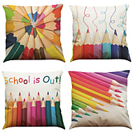Set of 4  Color Pencils Pattern  Linen Pillowcase Sofa Home Decor Cushion Cover
