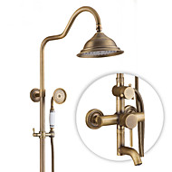 Antique Country Modern Shower Only Rotatable Ceramic Valve Single Handle Two Holes Antique Copper , Shower Faucet