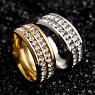 Mulheres Anéis de Casal Original Aço Inoxidável Zircão Forma Redonda Jóias Para Casamento Festa Ocasião Especial Diário Casual