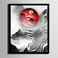 E-HOME® Framed Canvas Art Red Sun On The Hill Framed Canvas Print One Pcs