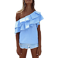 Majica Žene Prugasti uzorak Spuštena ramena Umjetna svila Poliester
