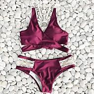 Kvinders Polyester Halterneck Ensfarvet Snøre Bikini