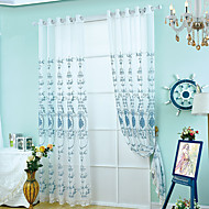 cheap Curtains & Drapes-Rod Pocket Grommet Top One Panel Curtain European Neoclassical, Embroidery Living Room Polyester Material Sheer Curtains Shades Home