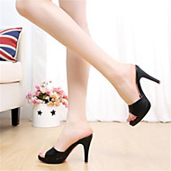 Women's Sandals Slingback PU Summer Casual Slingback Stiletto Heel Black 1in-1 3/4in