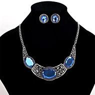 preiswerte -0.1-Damen Kristall Krystall Schmuck-Set 1 Paar Ohrringe / Halsketten - Personalisiert / Euramerican Geometrische Form Blau Halskette /