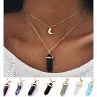 สำหรับผู้หญิง Turquoise หินภูเขาไฟ สร้อยคอจี้ - MOON สุภาพสตรี, ดีไซน์เฉพาะตัว, สไตล์เรียบง่าย, แฟชั่น คริสตัล สีฟ้า, สีเขียวอ่อน, สี1 สร้อยคอ เครื่องประดับ สำหรับ