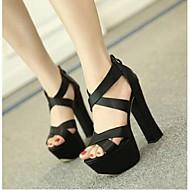 cheap Women's Sandals-Women's Shoes PU Gladiator Heels Chunky Heel For Casual White Black