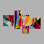 Peint à la main Abstrait Animal Horizontale,Moderne Quatre Panneaux Toile Peinture à l'huile Hang-peint For Décoration d'intérieur