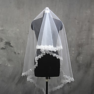 cheap Wedding Veils-One-tier Lace Applique Edge Wedding Veil Elbow Veils Fingertip Veils 53 Tulle