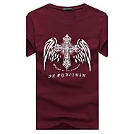 Homens Tamanhos Grandes Camiseta - Esportes Boho Buraco Estampado Algodão Decote Redondo Delgado