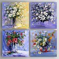 זול ציורי שמן-מצויר ביד פרחוני/בוטני מאוזן,מודרני ארבעה פנלים בד ציור שמן צבוע-Hang For קישוט הבית