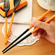 プラスチック ディナーフォーク セット サービングスプーン 箸 スプーン フォーク 箸 3個