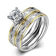 Dame Band Ring Ring Forlovelsesring - Titanium Stål minimalistisk stil, Mode, Brude 6 / 7 / 8 / 9 Sølv Til Julegaver Bryllup Fest / Ringe sæt / 2pcs