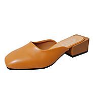 baratos Sapatos Femininos-Mulheres Sapatos Couro Ecológico Primavera / Verão Gladiador Mocassins e Slip-Ons Salto Baixo Ponta Redonda Bege / Amarelo / Castanho