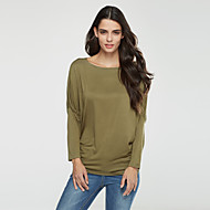Women's Plus Size Batwing Sleeve Cotton T-shirt - Solid Colored Ruched Boat Neck / Fall / Flare Sleeve
