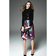 女性用 Aライン ドレス - 花のスタイル, その他 ハイライズ クルーネック