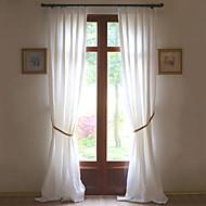 billige Gardiner ogdraperinger-To paneler Window Treatment Rustikk Moderne Neoklassisk Middelhavet Europeisk Designer , Solid Stue Lin Materiale gardiner gardinerHjem