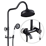 cheap Shower Faucets-Antique Country Modern Shower Only Rotatable Ceramic Valve Single Handle Two Holes Nickel Brushed, Shower Faucet
