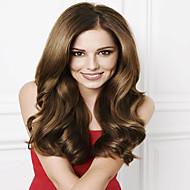 Naisten Aitohiusperuukit verkolla Aidot hiukset Full Lace Liimaton kokoverkko 130% Tiheys Runsaat laineet Peruukki Kastanjan ruskea Lyhyt