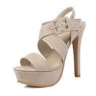 cheap Women's Shoes-Women's Shoes Fleece Summer Comfort Ankle Strap Club Shoes Sandals Walking Shoes Stiletto Heel Open Toe Buckle for Wedding Dress Party &