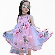 Djevojka je Poliester Cvjetni print Sport Proljeće Ljeto Sva doba Bez rukávů Haljina Cvijetan Blushing Pink Crvena Bijela