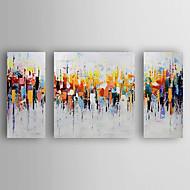 voordelige -Handgeschilderde Abstract Horizontaal, Modern Kangas Hang-geschilderd olieverfschilderij Huisdecoratie Drie panelen