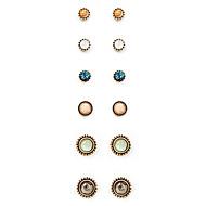Brincos Curtos Moda Vintage Euramerican Liga Forma Redonda Dourado Jóias Para Diário 1 Conjunto