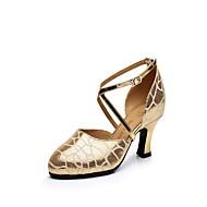 Dame Latin Lær Høye hæler Innendørs Spenne Kubansk hæl Gull 5,5 cm Kan ikke spesialtilpasses