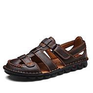 Pánské Obuv Pravá kůže Koženka Jaro Léto Pohodlné Sandály Pro Ležérní Černá Tmavěhnědá