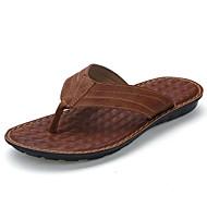 Herren Slippers & Flip-Flops Walking Komfort Leder Sommer Normal Kombination Flacher Absatz Schwarz Braun 5 - 7 cm