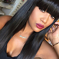 Naisten Aitohiusperuukit verkolla Aidot hiukset Lace Front Liimaton puoliverkko 130% Tiheys Suora Peruukki Musta Lyhyt Keskikokoinen Pitkä