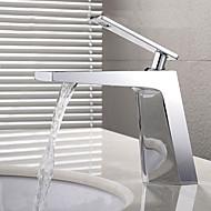 halpa -Nykyaikainen Integroitu Laajallle ulottuva Keraaminen venttiili Yksi kahva yksi reikä Kromi , Kylpyhuone Sink hana