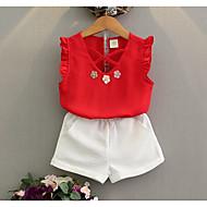 Dívčí Bavlna Umělé hedvábí Běžné/Denní Jednobarevné Léto Sady oblečení,Bez rukávů Rubínově červená Světlá růžová
