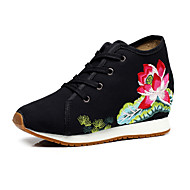 Women's Oxfords Summer Fall Comfort Novelty Embroidered Shoes Canvas Outdoor Office & Career Athletic Dress Casual Flat Heel Chunky Heel