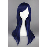 Naisten Synteettiset peruukit Suojuksettomat Keskikokoinen Suora Sininen Cosplay-peruukki puku Peruukit