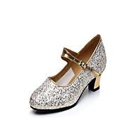 """billige Moderne sko-Dame Latin Glimtende Glitter Høye hæler Innendørs Gummi Spenne Kubansk hæl Gull 1 """"- 1 3/4"""" 2 """"- 2 3/4"""" Kan ikke spesialtilpasses"""
