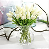 billige Kunstige blomster-10 10 Gren PU Ekte Touch Tulipaner Bordblomst Kunstige blomster