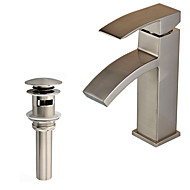 cheap Discount Faucets-Contemporary Art Deco/Retro Modern Vessel Waterfall Ceramic Valve One Hole Single Handle One Hole Nickel Brushed, Faucet Set