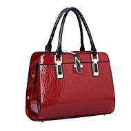 Women Bags All Seasons Patent Leather Shoulder Bag Tote for Event/Party Shopping Casual Formal Office & Career Black Beige Blue Wine