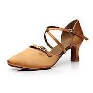 cheap Modern Shoes-Women's Latin Satin Sandal Performance Flared Heel Black Coffee Non Customizable