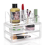 cheap Storage & Organization-Acrylic Transparent Complex Combined Large Capacity Treble 3 Layer Makeup Brush Pot Cosmetics Storage Stand Drawer Cosmetic Organizer Box 2PCS Set