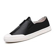 baratos Sapatos Masculinos-Homens Couro Primavera / Outono Conforto Tênis Caminhada Branco / Preto / Cinzento