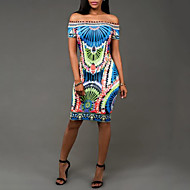 Χαμηλού Κόστους -Γυναικεία Αργίες / Κλαμπ Κομψό στυλ street Εφαρμοστό / Θήκη Φόρεμα Στάμπα Ως το Γόνατο Ψηλοκάβαλο Στράπλες Μπλε / Καλοκαίρι / Λεπτό