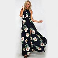 Žene Izlasci Praznik Vintage Slatko Ulični šik Korice Swing kroj Haljina Cvjetni print Na vezanje oko vrata Maxi Visoki struk