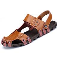 Masculino-Sandálias-Conforto-Rasteiro--Couro Ecológico-Casual