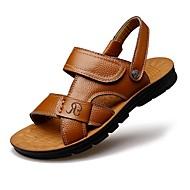 Masculino-Sandálias-Conforto Chanel-Rasteiro-Castanho Claro Castanho Escuro-Couro Ecológico-Ar-Livre Casual Para Esporte
