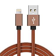 billige -USB 2.0 Belysning USB-kabeladapter Flettet Højhastighed Guldbelagt Kabel Til MacBook iPad MacBook Air iPhone MacBook Pro 100 cm PU Læder