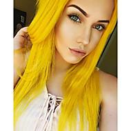 Naisten Synteettiset peruukit Lace Front Keskikokoinen Pitkä Suora Keltainen Luonnollinen hiusviiva Keskijakaus Luonnollinen peruukki