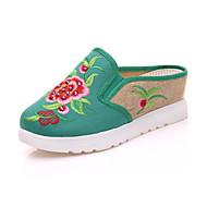 hesapli İşlemeli Ayakkabı-Kadın's Ayakkabı Kanvas Yaz / Sonbahar Rahat / Yenilikçi / Topuktan Bağlamalı Oxford Modeli Yürüyüş Dolgu Topuk Yuvarlak Uçlu Atletik /
