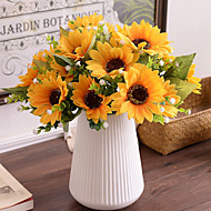 cheap Artificial Flowers-1 Branch Silk Sunflowers Tabletop Flower Artificial Flowers